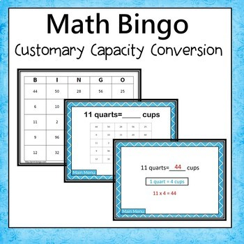 Customary Capacity Conversion Bingo