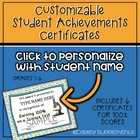 Customizable Certificates for 100% Test Score (Math, Spell
