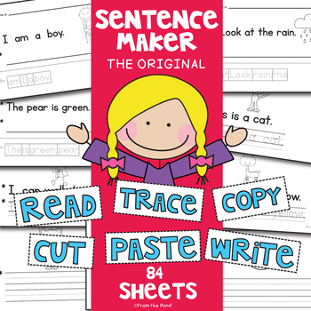 Cut & Paste Kindergarten Simple Sentence Writing + Reading