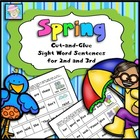 Cut-and-Glue Sight Word Sentences for 2nd and 3rd:  Spring Theme