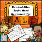 Cut-and-Glue Sight Word Sentences for Fall