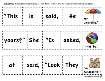 Cut-and-Glue Sight Word Sentences for Summer