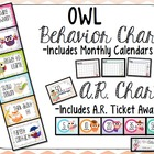 Cute OWLS Classroom Behavior Chart and AR points challenge