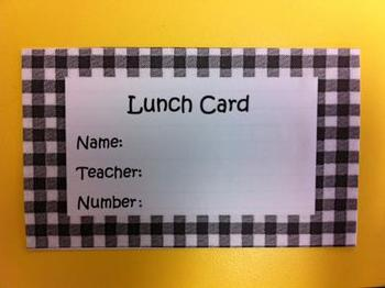 Cute! Printable Lunch Cards - Black Gingham