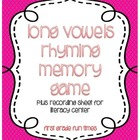 Work on Words Long Vowel Rhyming Memory Game PLUS Literacy Center