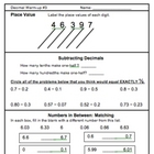 DECIMALS NUMBER SENSE Warm-up Activities (Set of 7 pages p