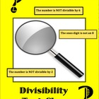 "DIVISIBILITY TEST ""CLUE"" GAME- WITH DIVISIBILITY TEST HANDOUT"