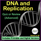 DNA (Deoxyribonucleic Acid) Quiz / Review / Homework (Advanced)