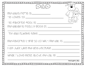 Dad's Day Writing Activity _for boys