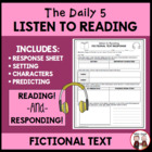 Daily 5 Listen to Reading Fiction Worksheet for Students