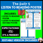 Daily 5 Listen to Reading Intermediate Poster I Chart