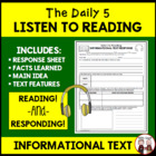 Daily 5 Listen to Reading Non Fiction Worksheet for Students