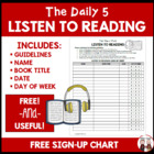 Daily 5 Listen to Reading Sign Up Chart for Students FREE
