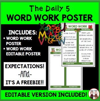 Daily 5 Word Work Intermediate Poster I Chart