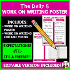 Daily 5 Work on Writing Intermediate Poster I Chart