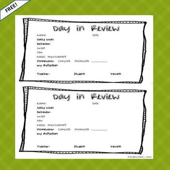 Daily Behavior Intervention Sheet RTI Free Resource
