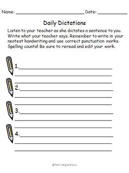 Daily Dictation/Spelling Test in Context Worksheets