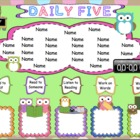 Daily Five Owl Themed Assignments Interactive Smartboard