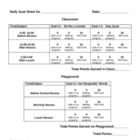 Daily Goal Sheet for Behavior
