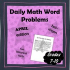 Daily Math Word Problems (bell ringers) for APRIL with Fun Facts