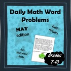 Daily Math Word Problems (bell ringers) for MAY with Fun Facts