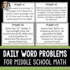 Daily Middle School Math Word Problems