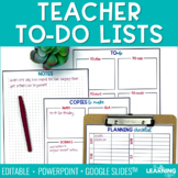 Daily Plan and To-Do Lists For Teachers