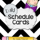 Daily Schedule Cards: Black and White