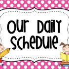 Daily Schedule Cards Polka Dot Theme