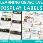 Daily &amp; Weekly Learning Objectives Labels