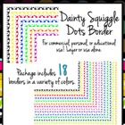 Dainty Dots & Squiggles Clip Art Borders for Commercial Use