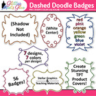 Dashed Glitter Doodle Badges / Frames Clipart - 56 Graphic