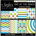 Day At The Beach {12x12 Digital Papers for Commercial Use}