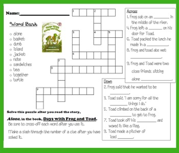 Days With Frog &Toad Crossword {New & Improved} (Harcourt Rdg)