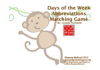 Days of the Week Abbreviations Matching Game