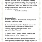 Days of the Week Flashcards with parent letter