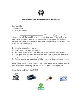 """Dear World,"" Renewable and Non-Renewable Resources"