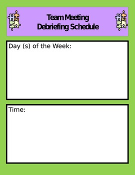 Debriefing Meeting Schedule and Notes Page (Autism and Spe