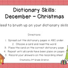 December Dictionary Skills - Christmas