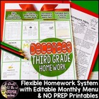 December Homework Menu Pack-Editable & Differentiated for