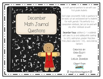 December Math Journal Prompts