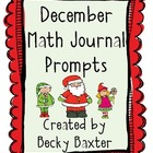 December Math Journal Prompts- Kindergarten CC