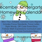 December Mon.-Thur. Common Core Kindergarten 4 Week Homewo