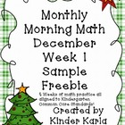 December Morning Math: WEEK 1 FREEBIE
