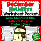 December Test Prep Worksheet Packet (Main Idea, Context Cl