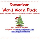 December Word Work Activities Pack