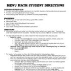 Decimal Activity- Real World &quot;Menu Math&quot;