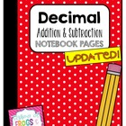 Decimal Addition &amp; Subtraction Journal Page