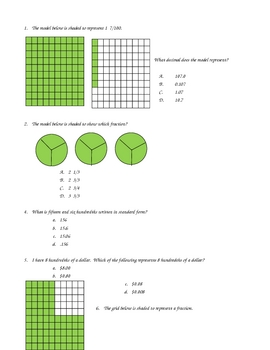 Decimal Fraction Review Sheets