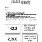 Decimal Place Value Memory (Number/Number Word Matching Game)